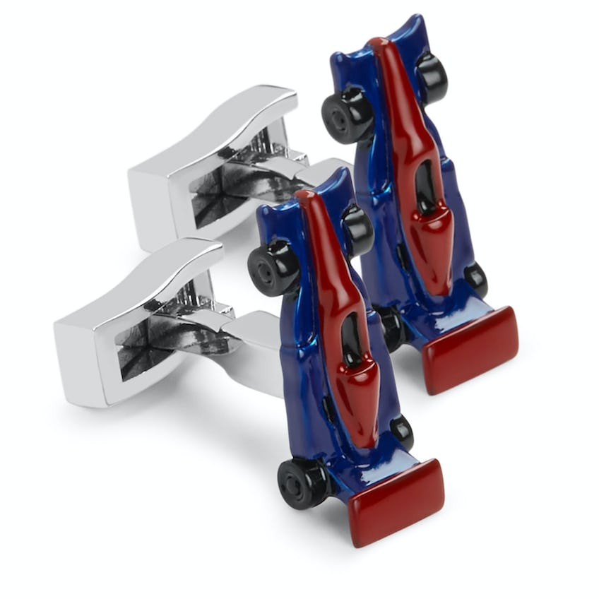 Red and Blue Racing Car Cufflinks 0