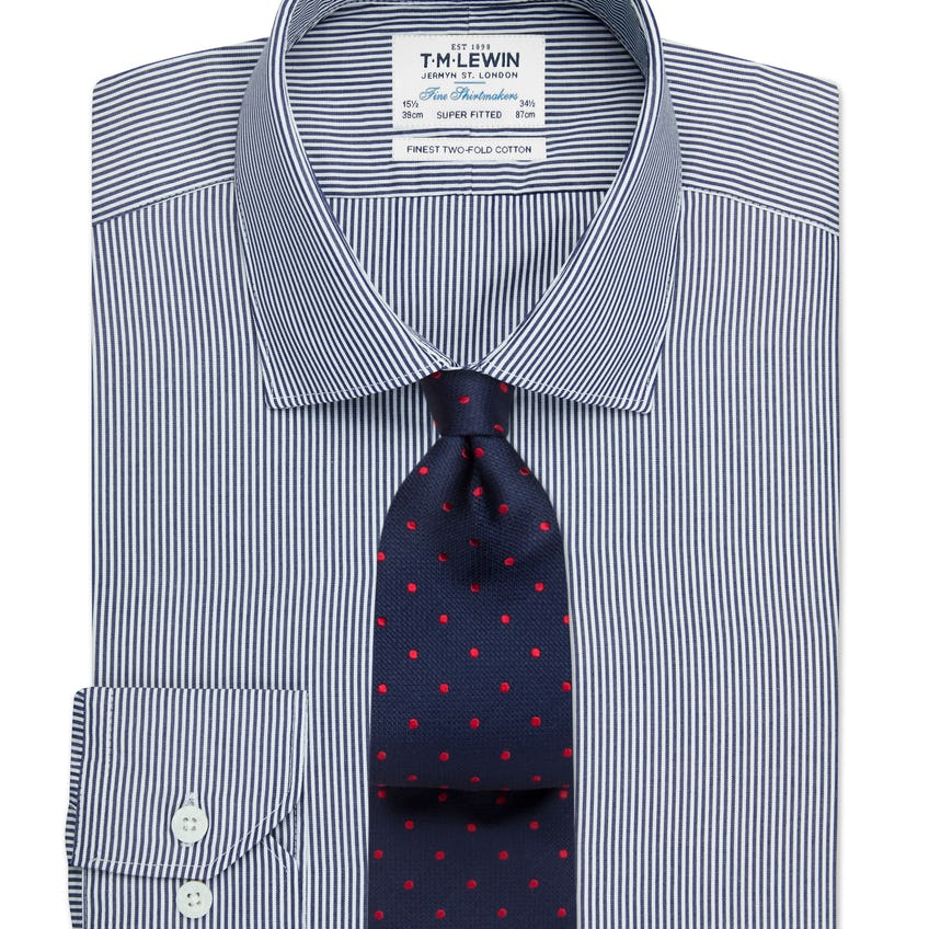 Super Fitted Navy Bengal Stripe Shirt 0