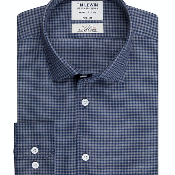 Albini Mill Gingham Check Slim Fit Navy and Grey Single Cuff Shirt 0