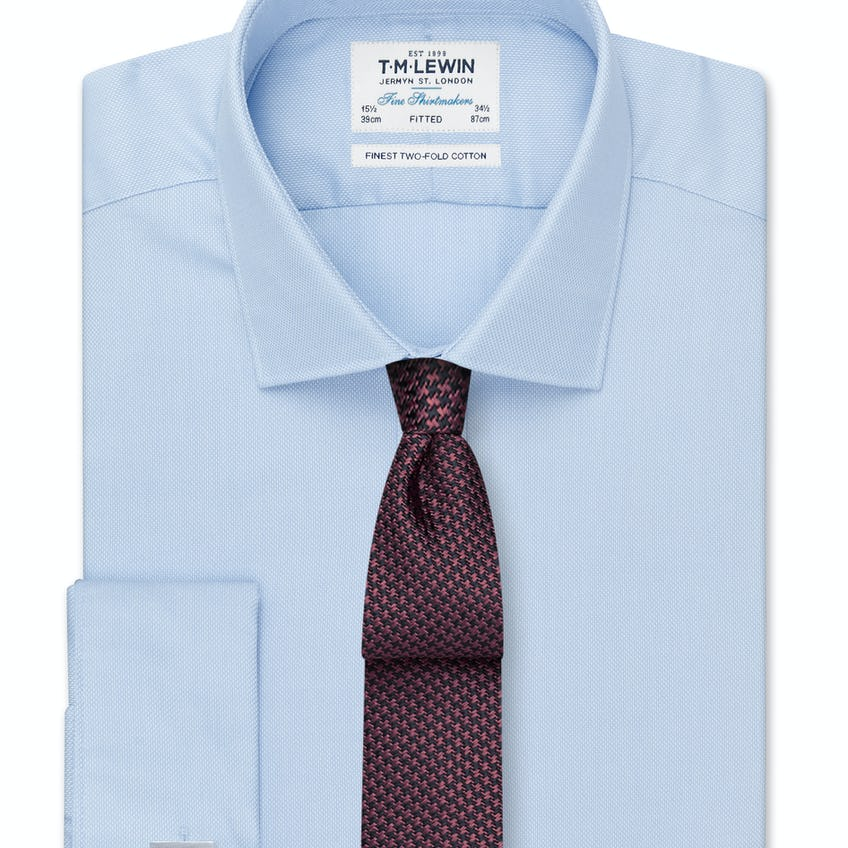 Fitted Blue Oxford Double Cuff Shirt 0