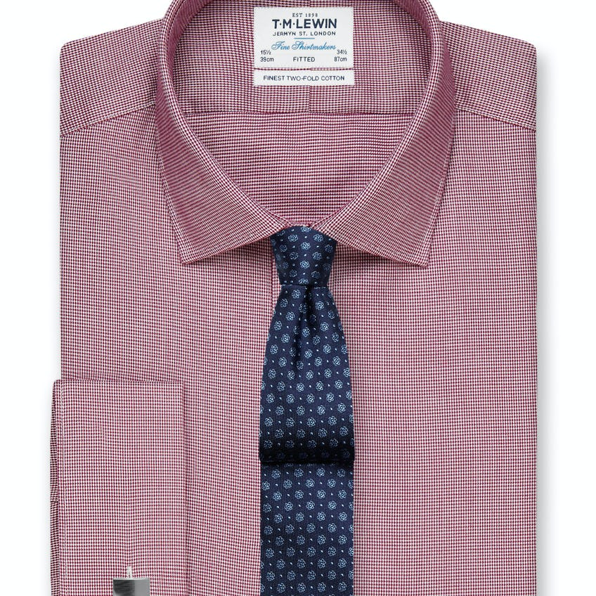 Fitted Burgundy Dogtooth Shirt - Double Cuff 0