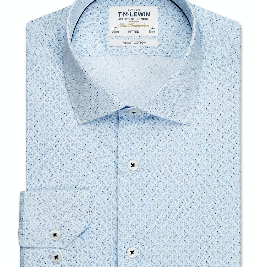 Constellation Print Fitted Sky Blue Single Cuff Shirt 0