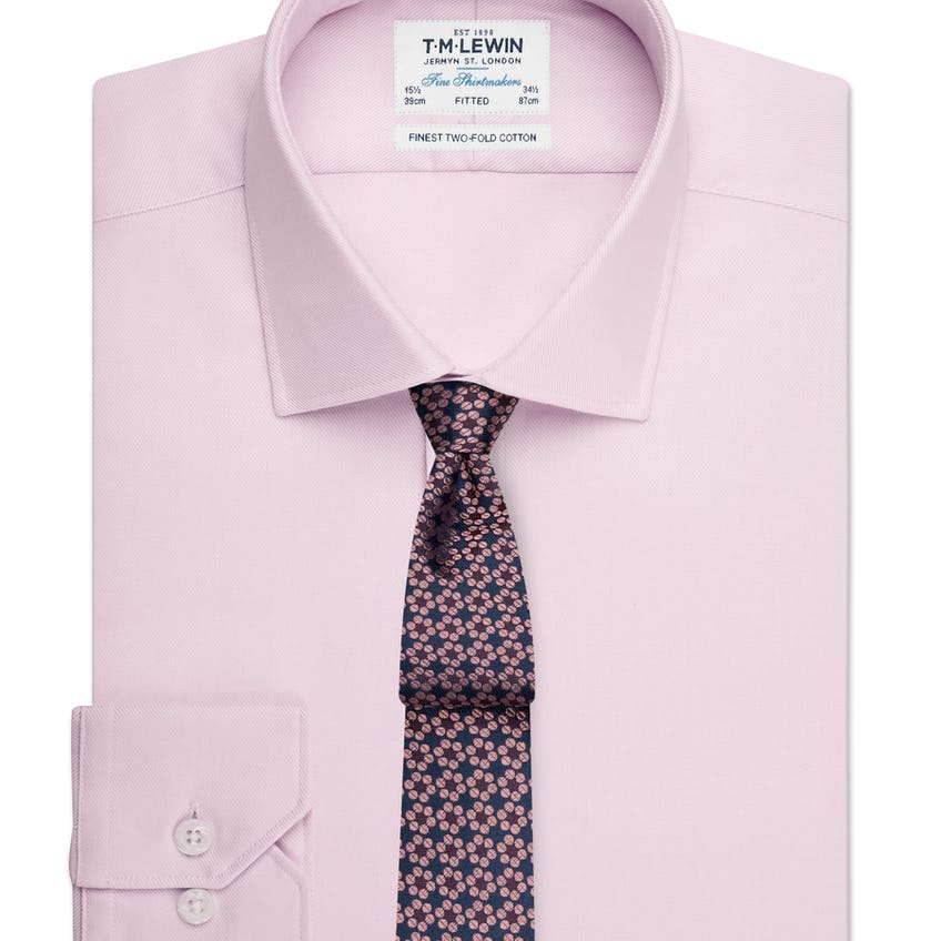 Fitted Plain Pink Luxury Twill Shirt 0