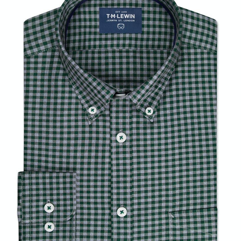 Slim Fit Green and Grey Gingham Single Cuff Shirt 0