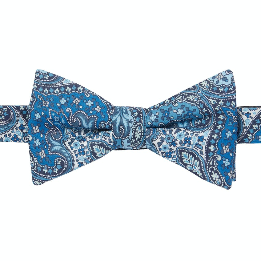 Made with Liberty Fabric Blue Spitalfields Print Pre-Tied Bow Tie 0