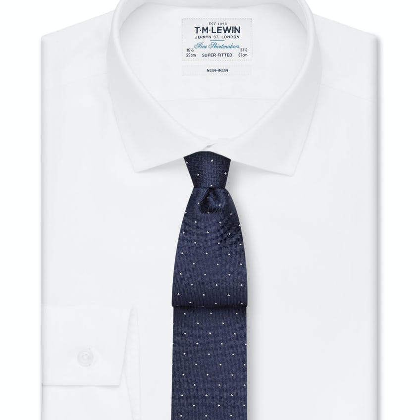 Non-Iron Super Fitted White Twill Shirt
