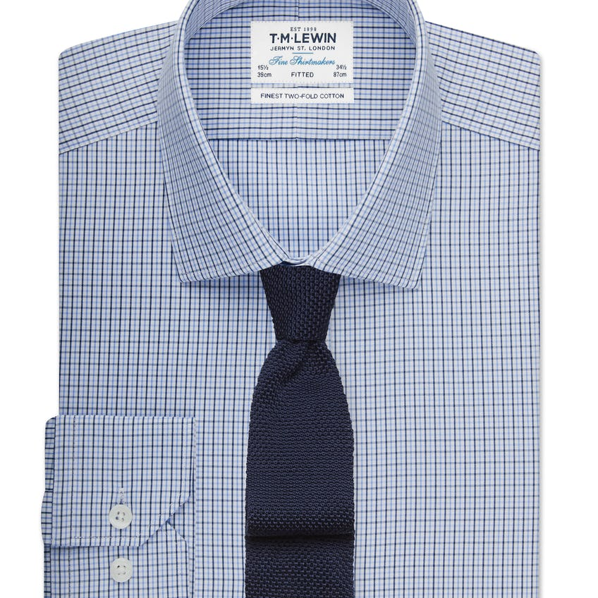 Fitted Blue Small Check Shirt 0