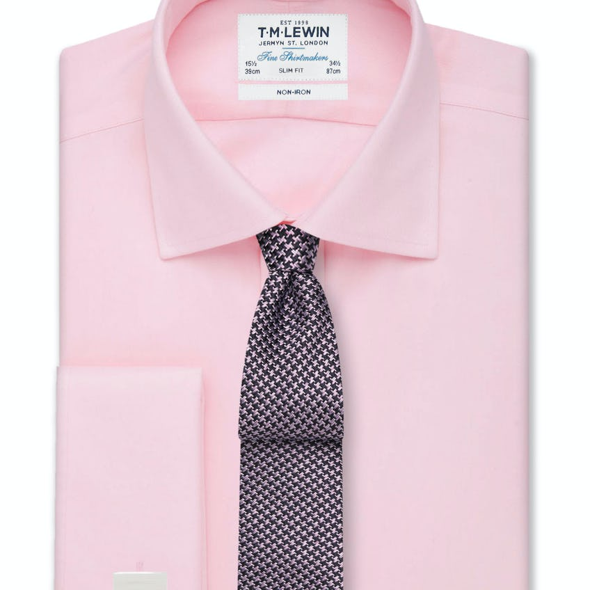 Non-Iron Pink Twill Double Cuff Slim Fit Shirt