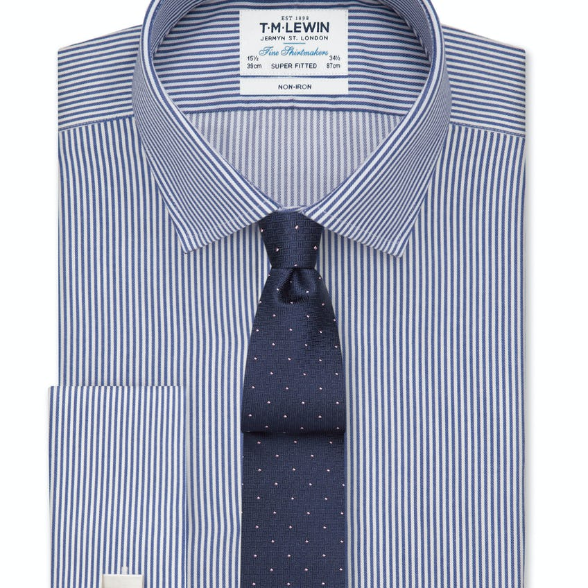 Non-Iron Navy Bengal Stripe Super Fitted Double Cuff Shirt 0