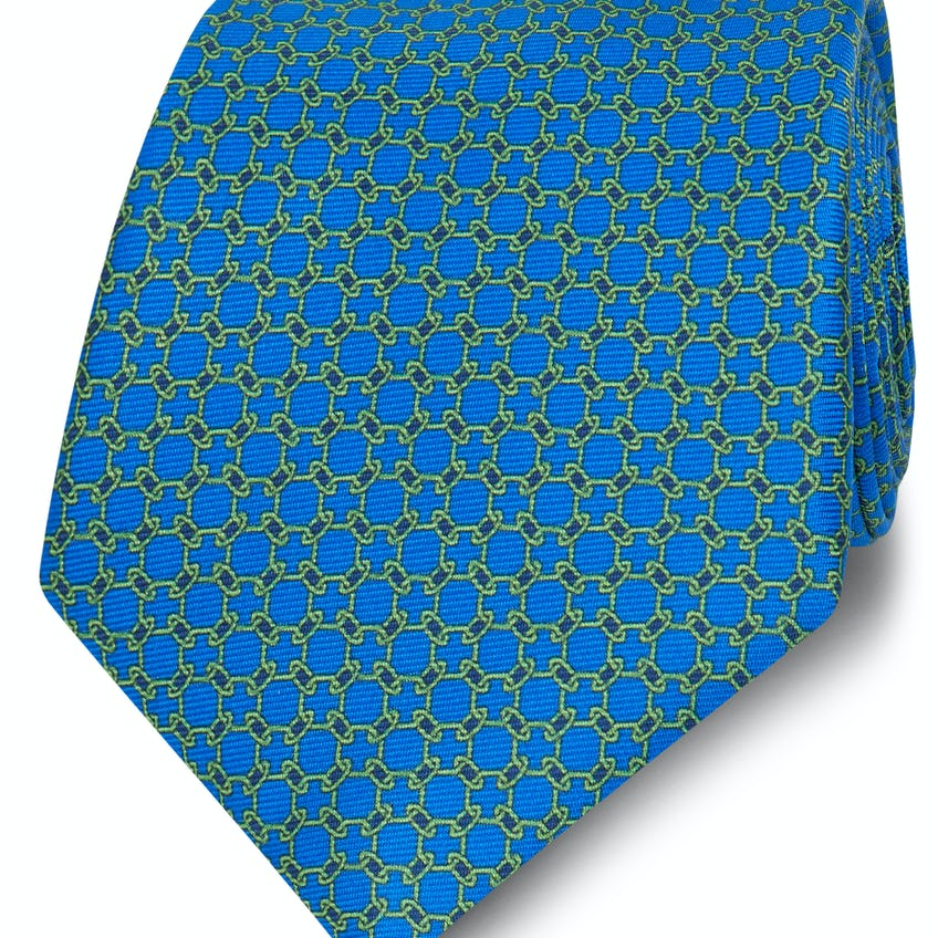 Printed Blue and Green Chain Link Silk Wide Tie 0
