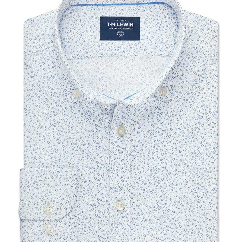 Slim Fit White and Blue Ditsy Floral Print Shirt 0