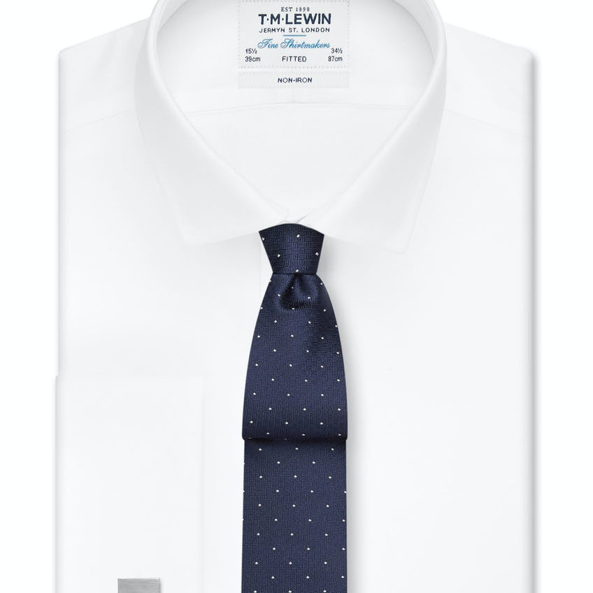 Non-Iron White Twill Double Cuff Fitted Shirt 0