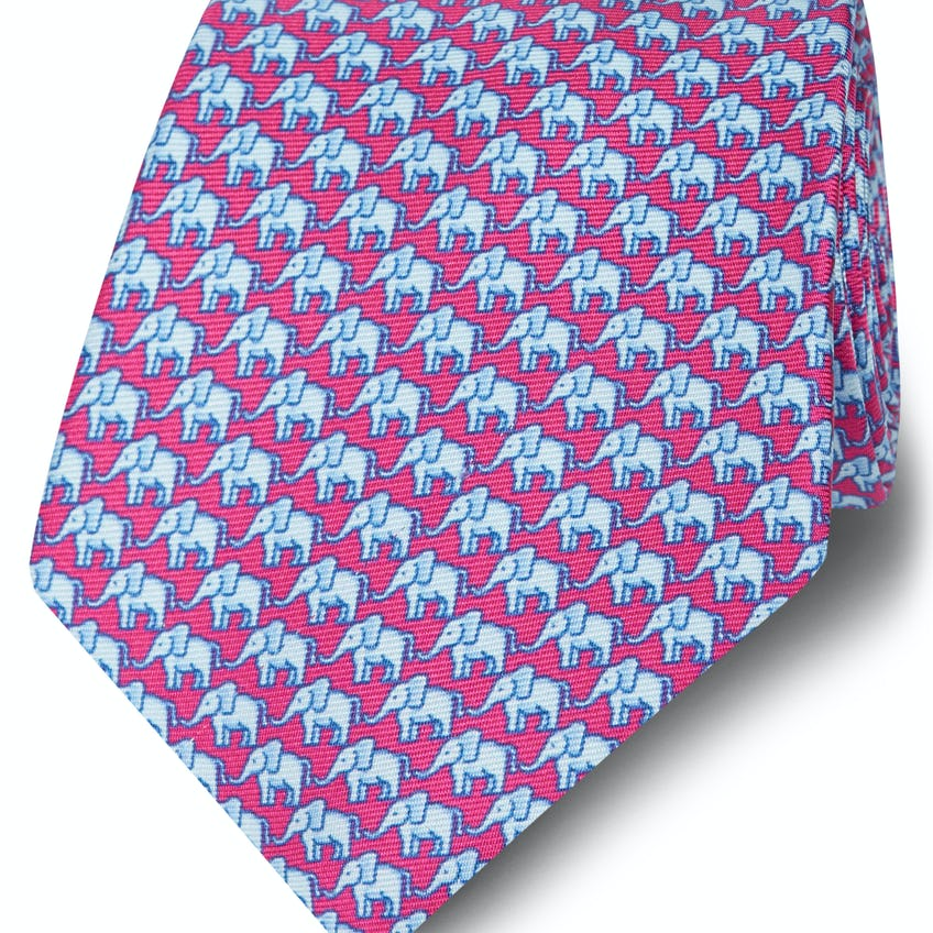Made in Italy Wide Pink and Blue Elephant Silk Tie 0