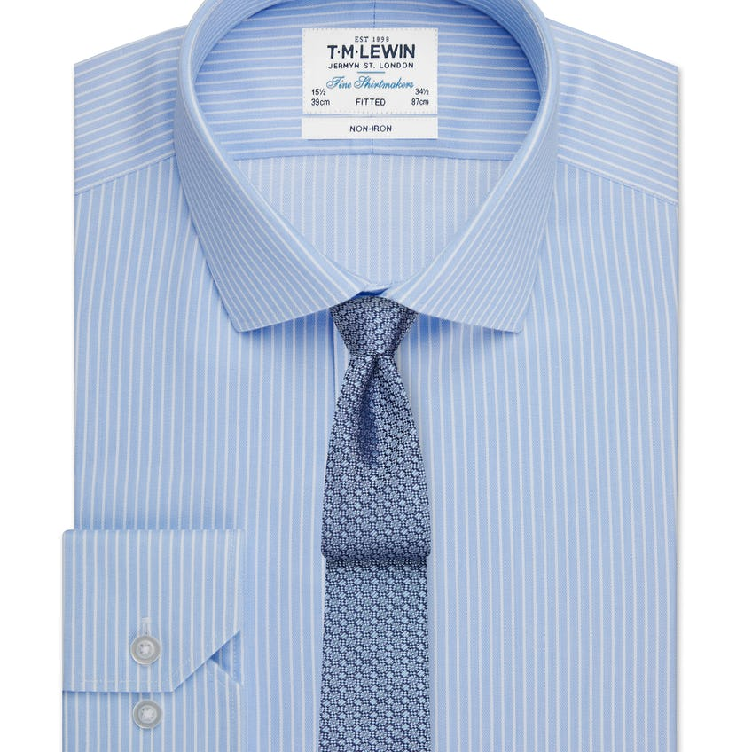 Non-Iron Stripe Fitted Blue and White Single Cuff Shirt 0