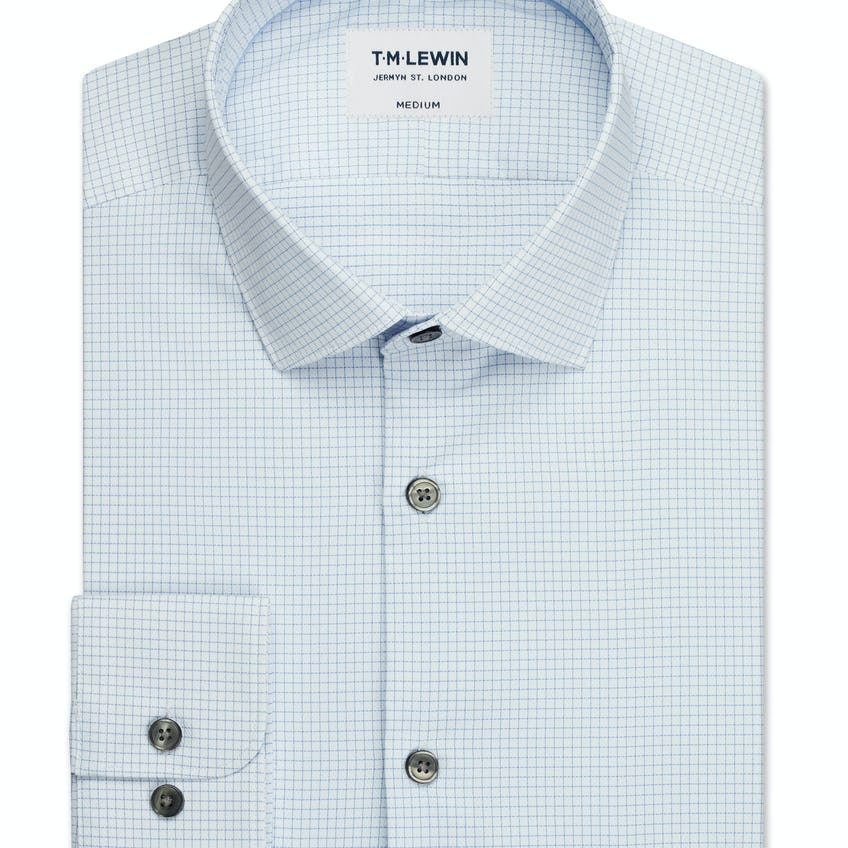 Travel Collection Slim Fit Blue Micro Check Button Cuff Shirt 0