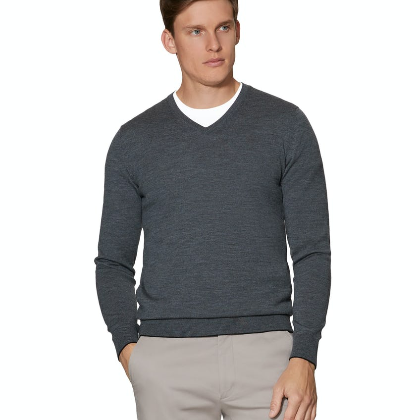 Dorset Charcoal V-Neck Slim Fit Merino Wool Jumper
