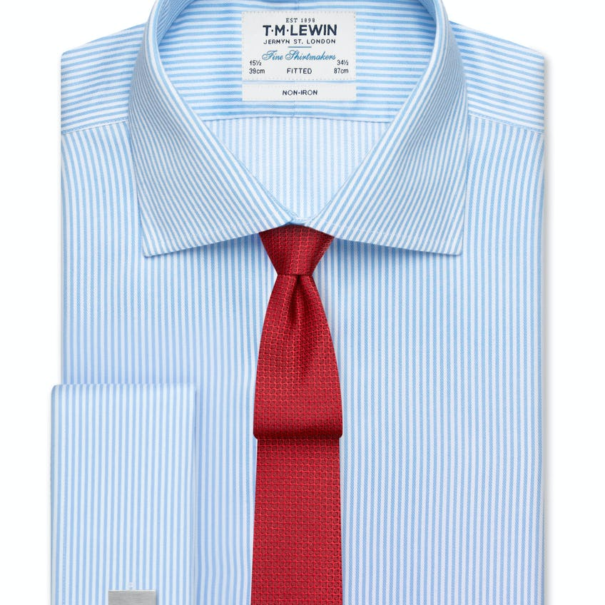 Non-Iron Blue Bengal Stripe Fitted Shirt