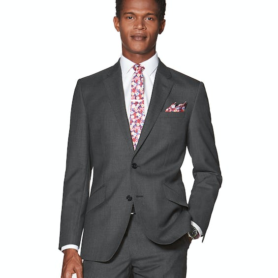 Conrad Woven in England Slim Fit Charcoal Sharkskin Jacket 0