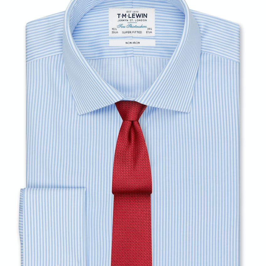 Non-Iron Super Fitted Blue Bengal Stripe Shirt 0