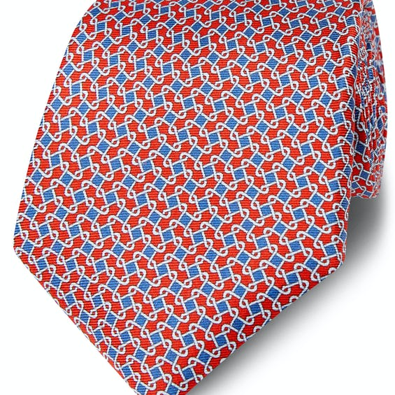 Printed Red and Blue Chain Link Silk Wide Tie 0