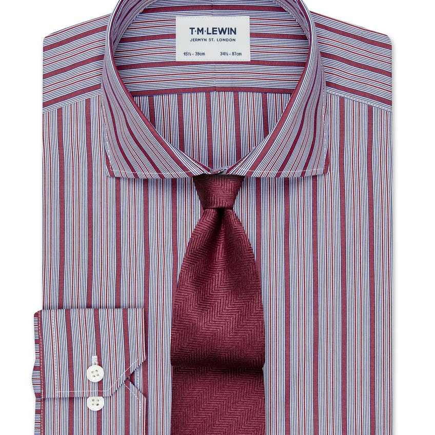 Slim Fit Navy and Red City Stripe Dual Cuff Shirt 0
