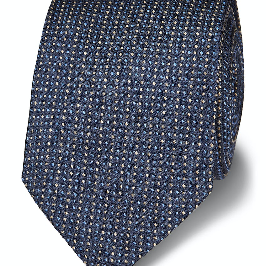 Luxury 7-Fold Navy and Yellow Spot Silk Wide Tie 0