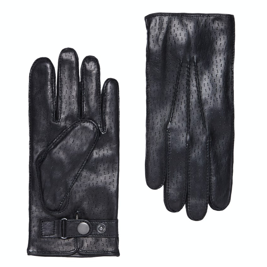 Luxury Textured Leather Black Cashmere-Lined Gloves 0