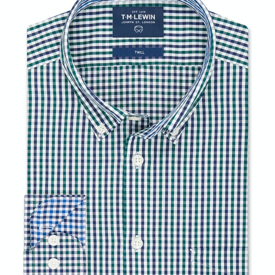 Twill Slim Fit Navy and Green Gingham Shirt 0
