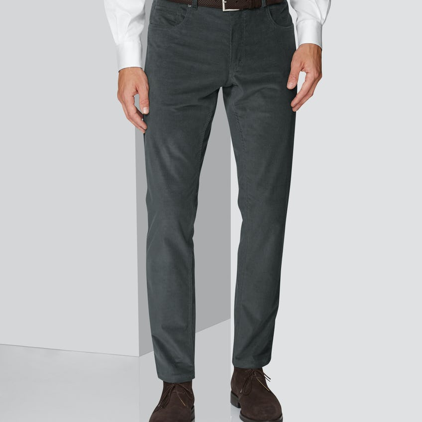 Madden Extra Slim Fit Charcoal 5-Pocket Needlecord Trouser 0