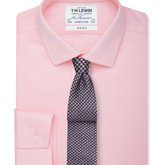 Non-Iron Pink Twill Button Cuff Super Fitted Shirt 0