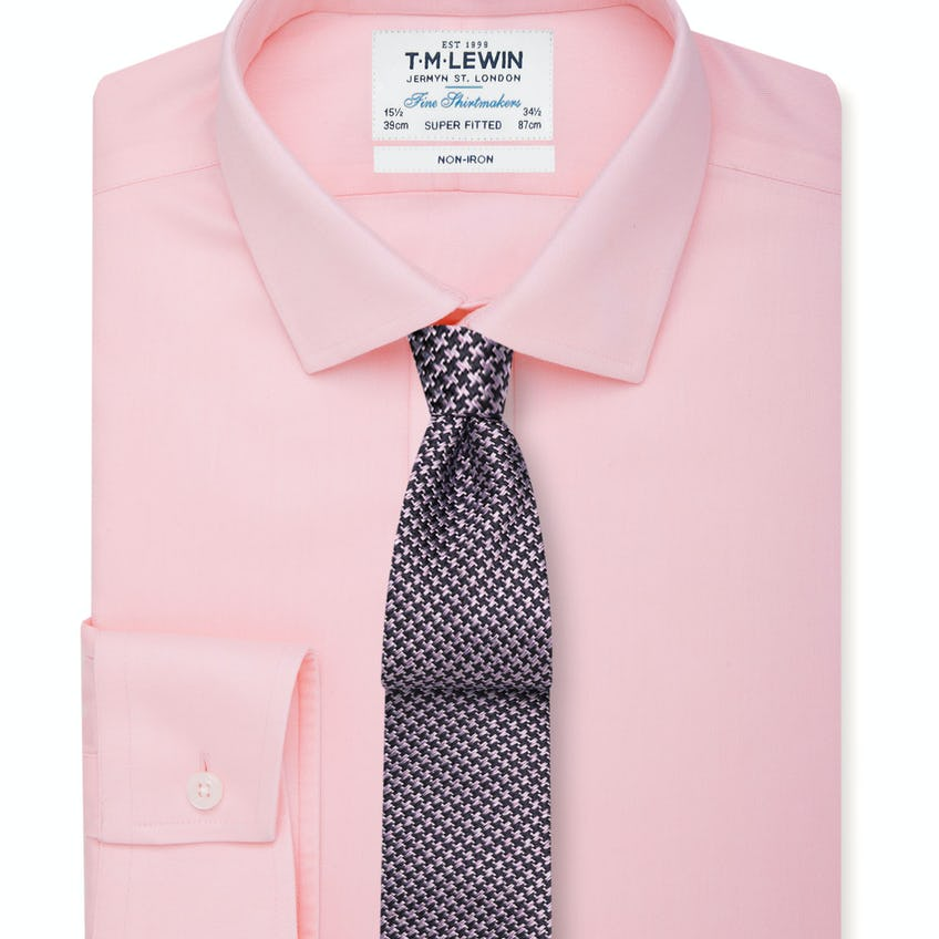 Non-Iron Pink Twill Button Cuff Super Fitted Shirt