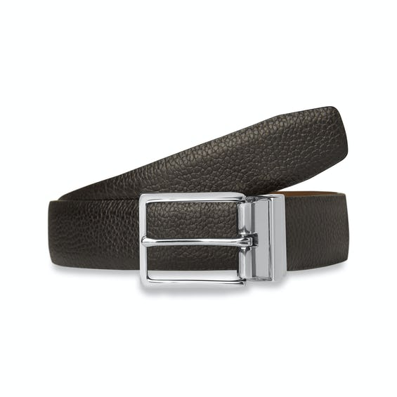 Black and Tan Reversible Leather Belt 0