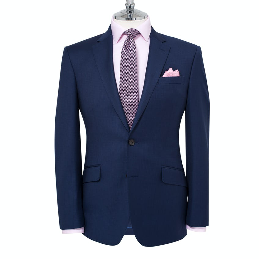 Jamie Infinity Active Slim Fit Blue Textured Jacket