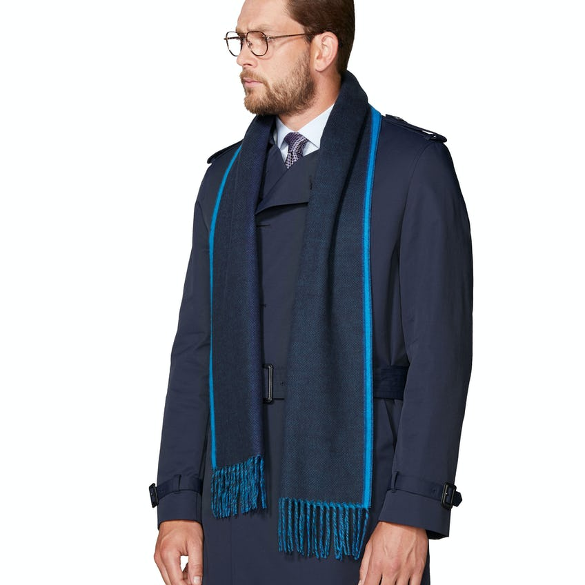 Navy and Blue Double Faced Cashmink Scarf 0