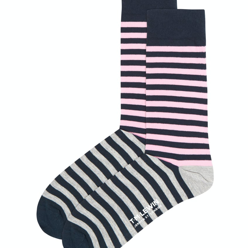 Pink and Grey Double Stripe Socks 0