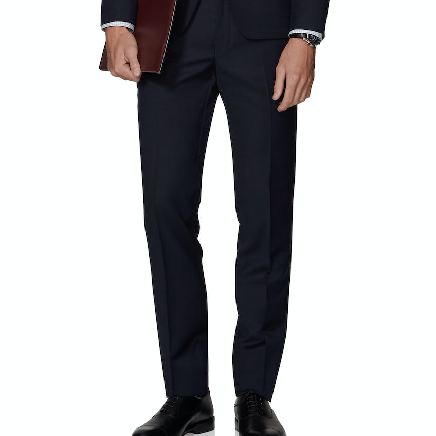 Bourne Power Stretch Skinny Fit Navy Textured Trousers 0
