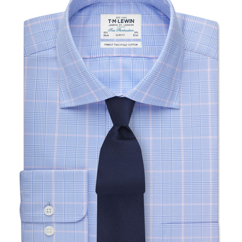 Slim Fit Blue and Pink Overcheck Shirt 0