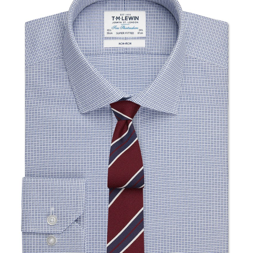 Non-Iron Geo Square Super Fitted Navy Single Cuff Shirt