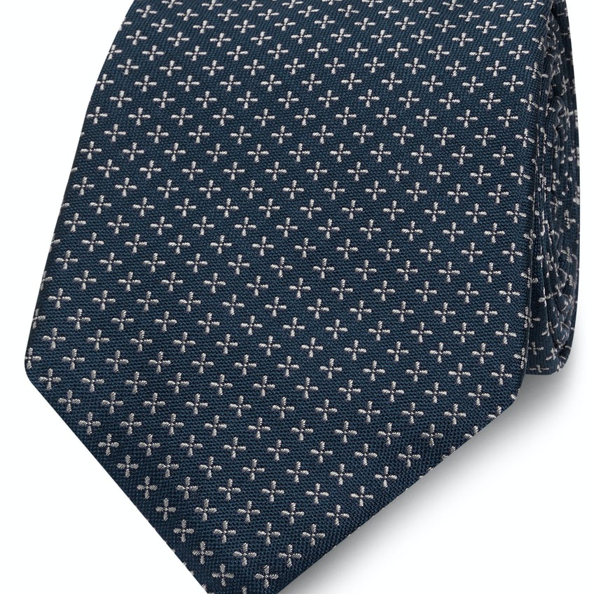 Navy and White Cross Spot Silk Wide Tie 0