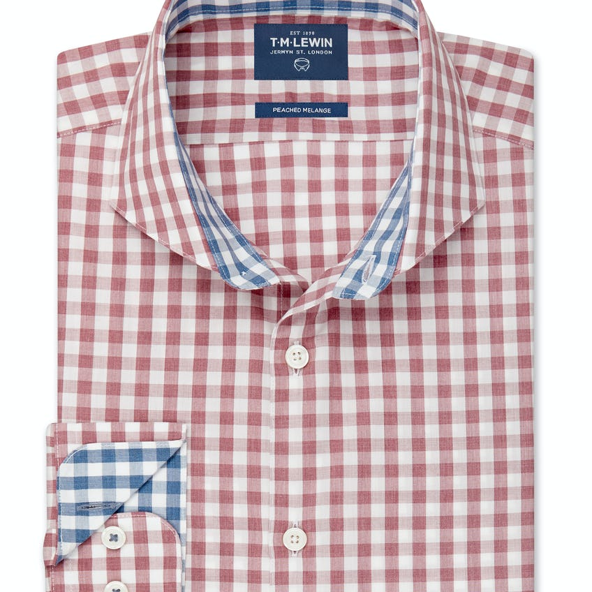 Peached Melange Slim Fit Pink Gingham Shirt