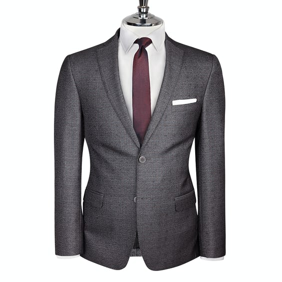 Floyd Skinny Fit Charcoal Textured Jacket 0
