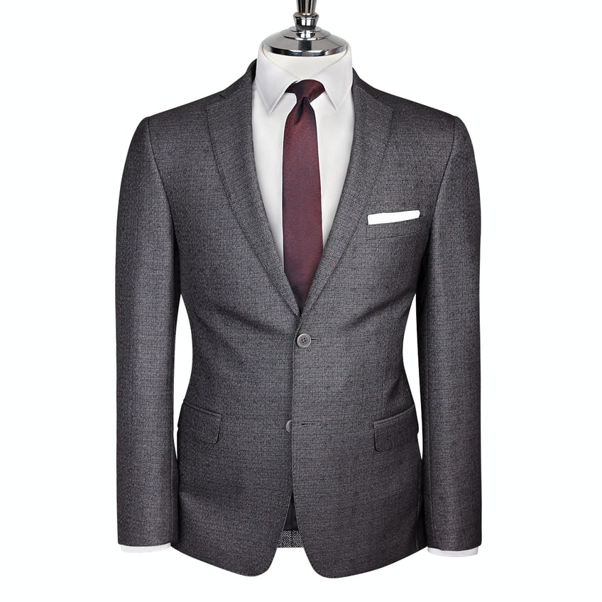 Floyd Skinny Fit Charcoal Textured Jacket