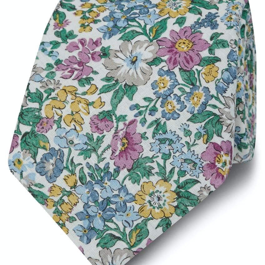 Made with Liberty Fabric Wide Pink Honeydew Print Tie 0