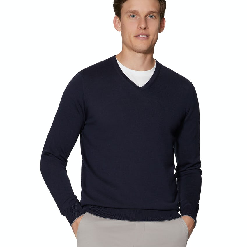 Dorset Navy V-Neck Slim Fit Merino Wool Jumper