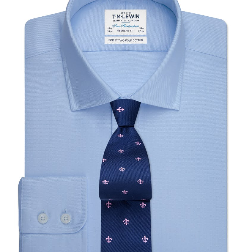 Blue Twill Regular Fit Button Cuff Shirt