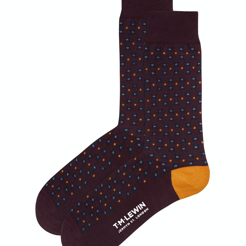 Burgundy, Navy and Yellow Floral Spot Socks 0