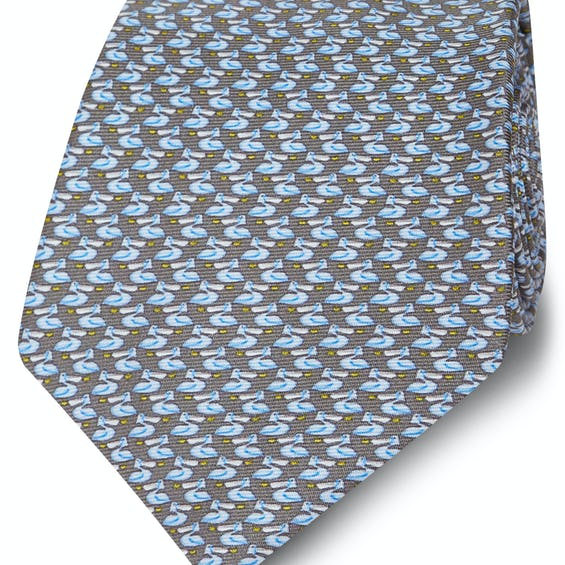 Made in Italy Wide Grey and Blue Pelican Silk Tie 0