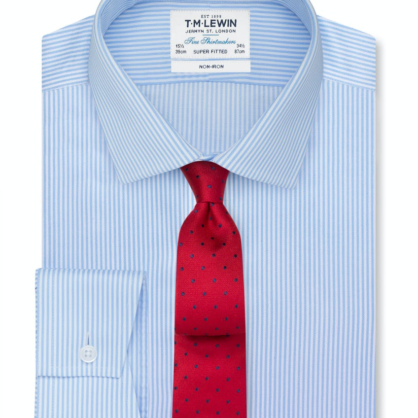 Non-Iron Blue Bengal Stripe Super Fitted Shirt 0
