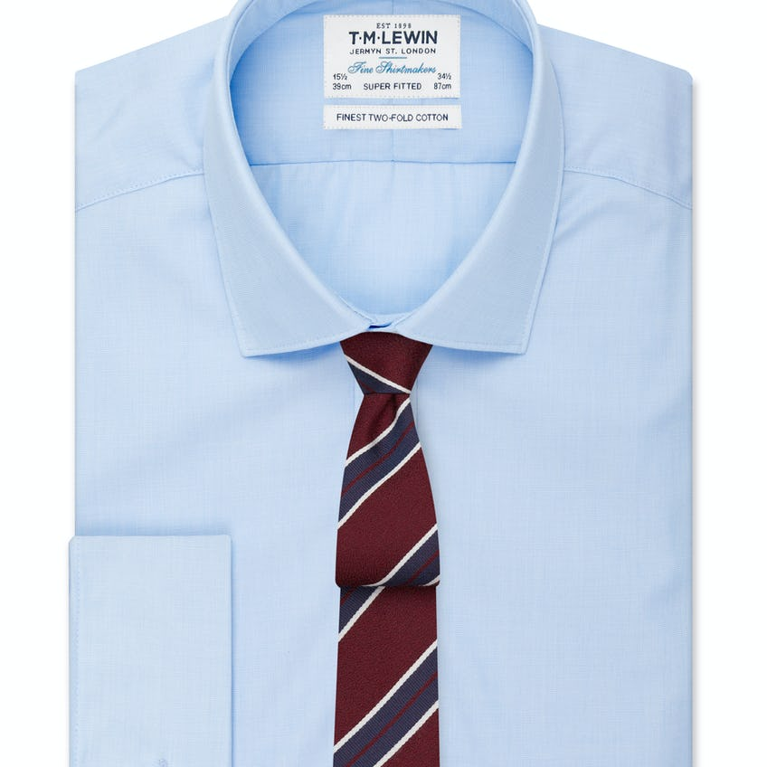 Super Fitted Light Blue End-on-End Double Cuff Shirt 0