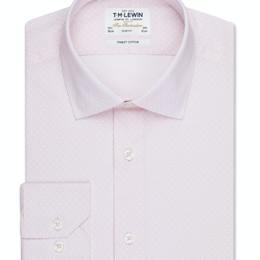 Gyroscopic Print Fitted Pink Single Cuff Shirt